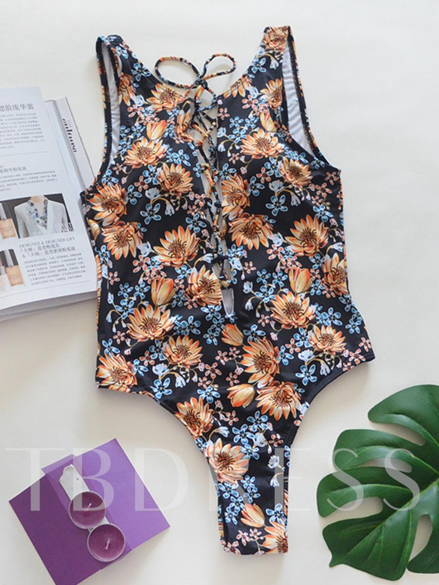 Plant Floral Hollow One Piece Bathing Suits