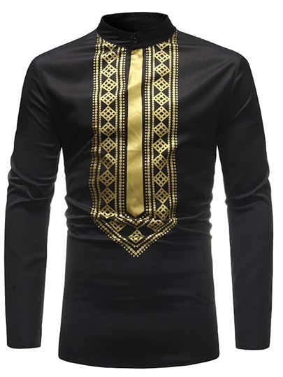 African Dashiki Mid-Pattern Slim Stand Collar Mens T-Shirt African Dashiki Mid-Pattern Slim Stand Collar Men's T-Shirt