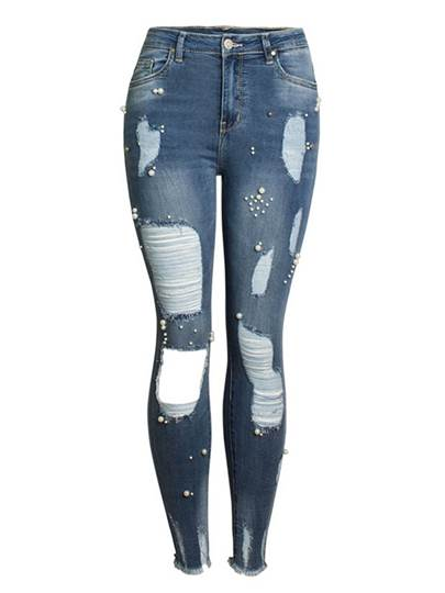 Skinny Bead Hole Ripped Womens Jeans 13396814