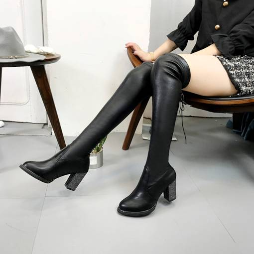 Chunky Heel Round Toe Lace-Up Back Fashion Knee High Boots