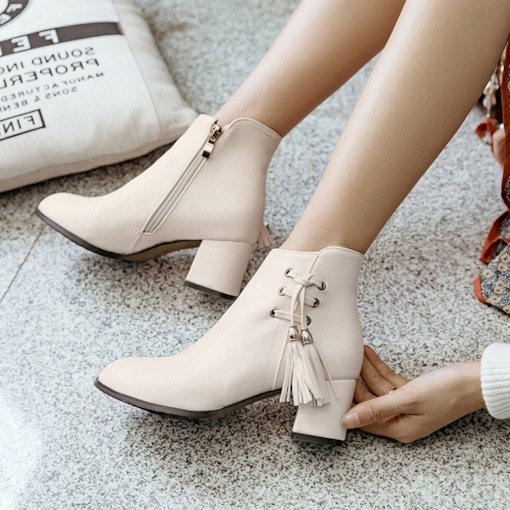 Round Toe Side Zipper Chunky Heel Fringe Lace-Up Ankle Boots