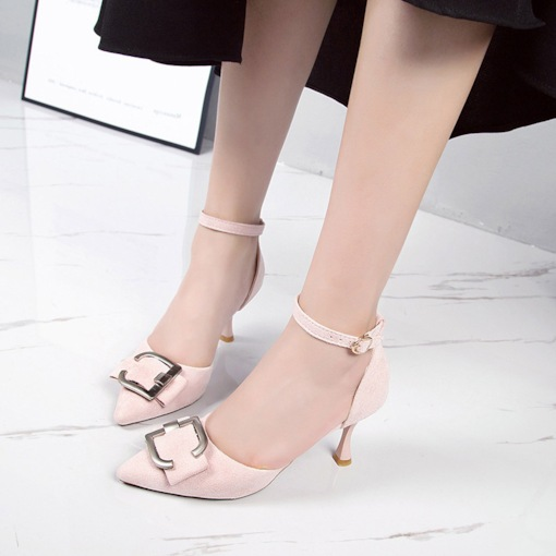 Sequin Spool Heel Pointed Toe Line-Style Buckle Chic Women's Pumps