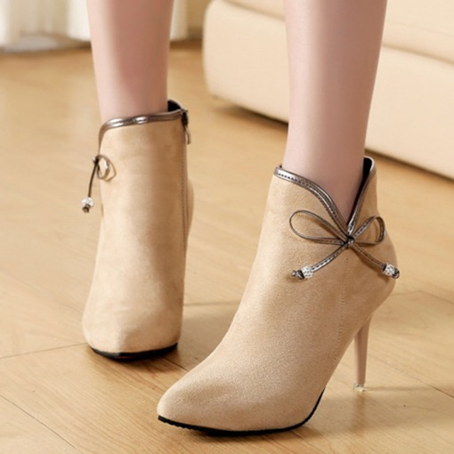 Suede Pointed Toe Side Zipper Stiletto Heel Bow Women's Ankle Boots