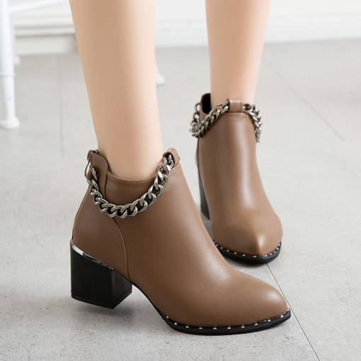 Pointed Toe Back Zip Chunky Heel Chain Casual Women's Ankle Boots