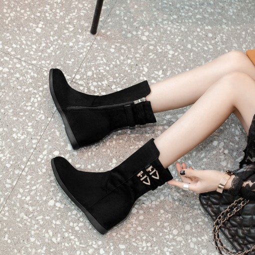 Round Toe Suede Side Zipper Buckle Elevated Women's Ankle Boots
