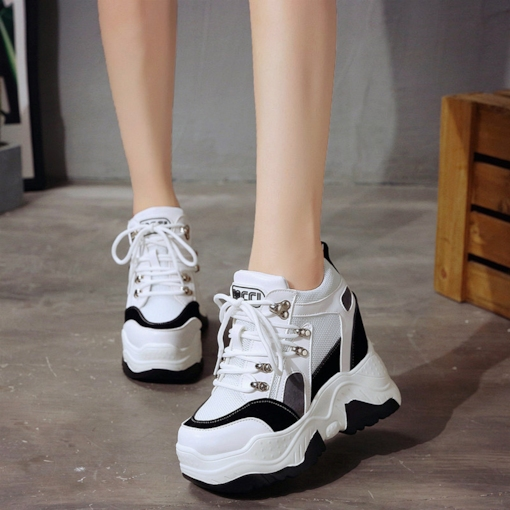 Round Toe Platform Mesh Patchwork Elevated White Sneakers