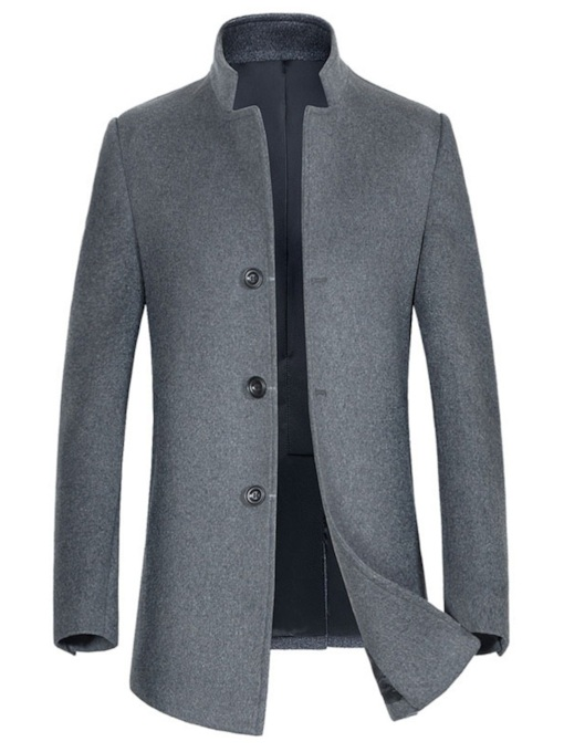 Slim Stand Collar Mid-Length Plain Men's Trench Coat