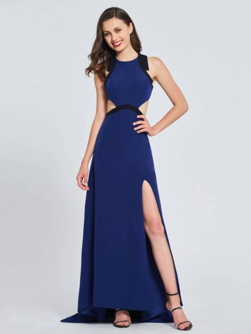 A-Line High Neck Split-Front Hollow Prom Dress