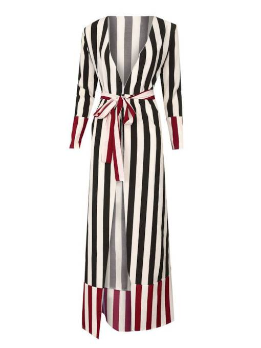 Long Sleeves Stripe Belt Women's Maxi Dress