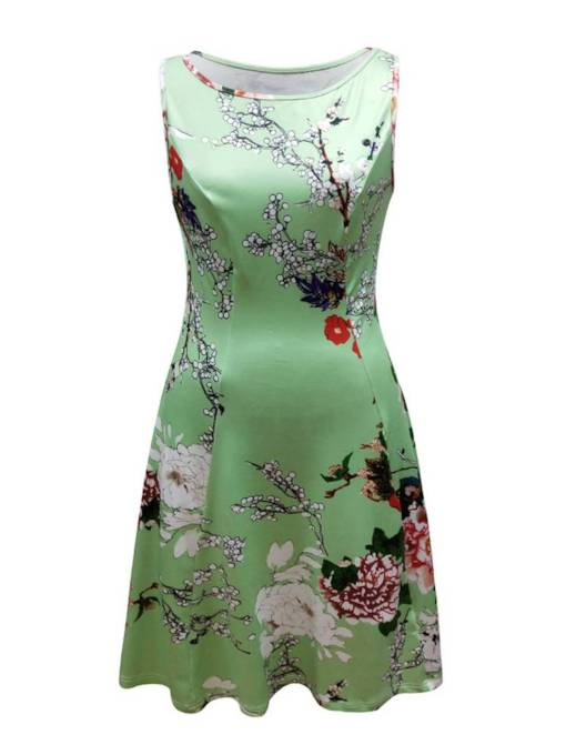 Green Sleeveless Green Women's Day Dress