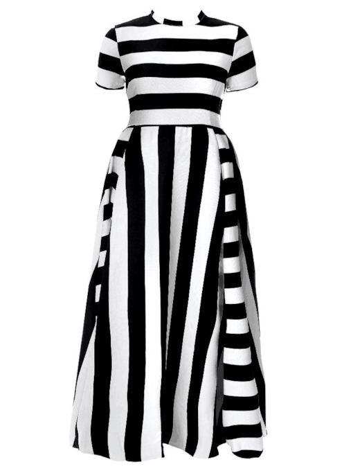 Short Sleeves Stripe Women's Maxi Dress