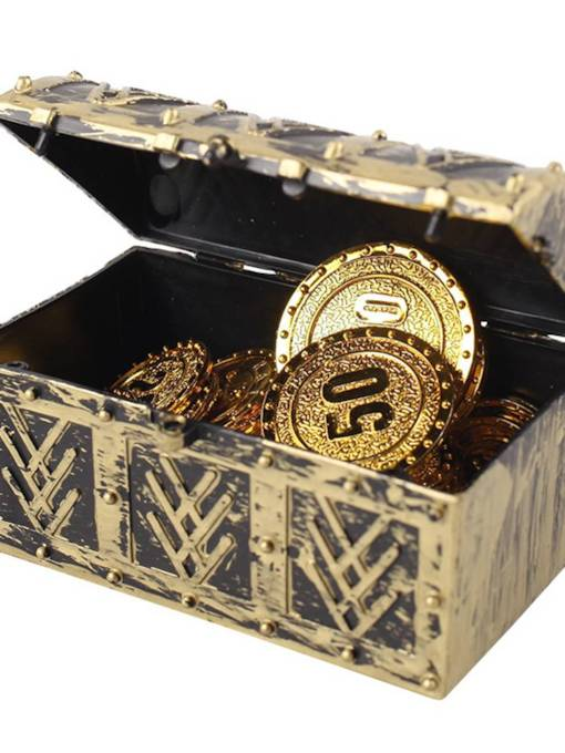 Plastic Halloween Props Treasure Chest Gold Coin