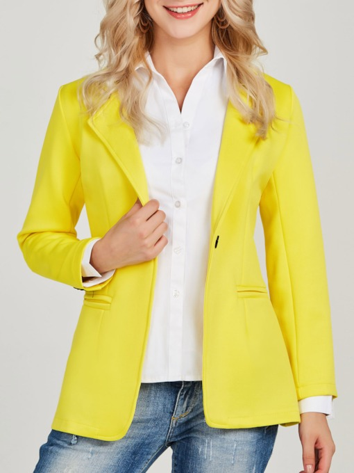 Plain One Button Notched Lapel Women's Blazer