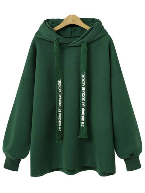 Plain Pure Color Hooded Letter Print Women's Sweatshirt