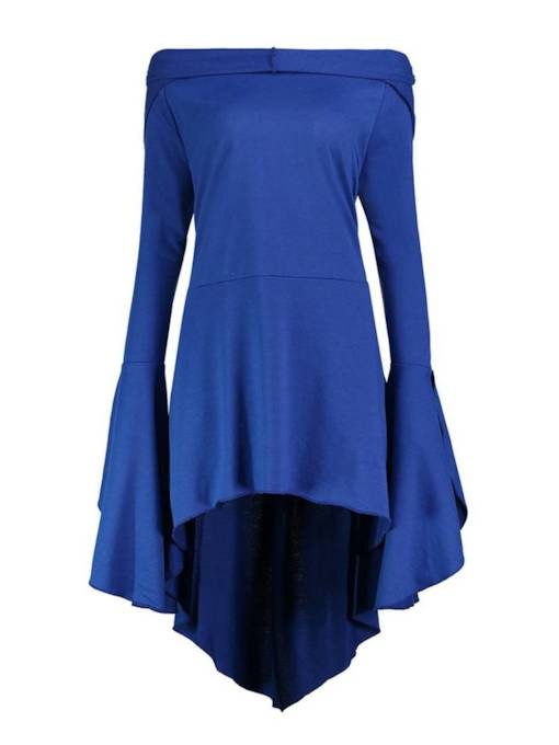 Blue Off Shoulder Flare Sleeve Women's Dress
