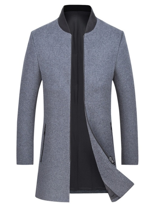 Slim Stand Collar Zipper Pockets Mid-Length Plain Men's Coat