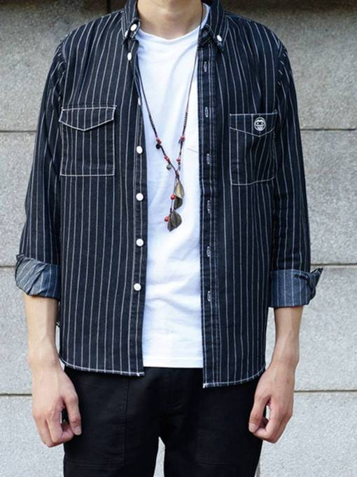 Casual Style Lapel Stripe Pockets Loose Men's Shirt