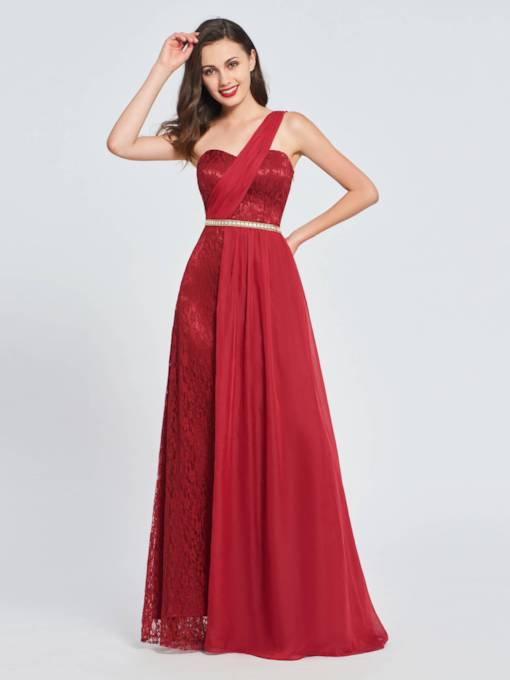 A-Line One-Shoulder Lace Sequins Prom Dress