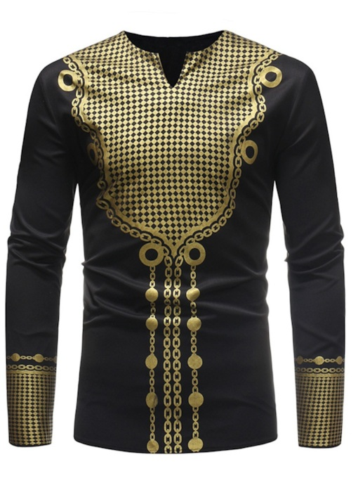 African Dashiki Mid-Pattern Men's Long Sleeves T-Shirt