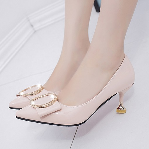 Slip-On Sequin Spool Heel Pointed Toe Casual Women's Pumps