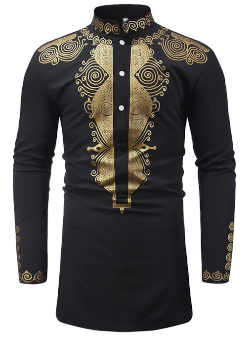 Dashiki Stand Collar Men's Long Sleeves Shirt