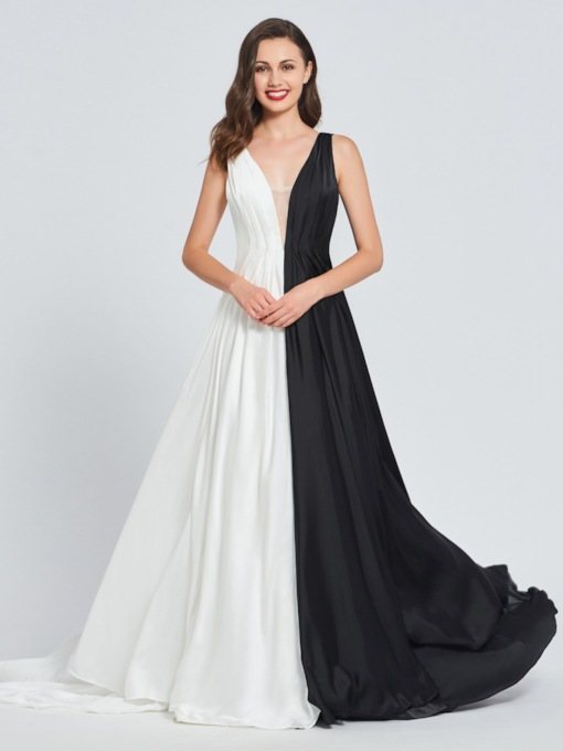 A-Line V-Neck Multi Color Prom Dress