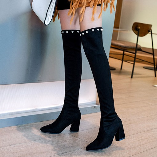 Pointed Toe Chunky Heel Suede Beads Slip-On Women's Knee High Boots