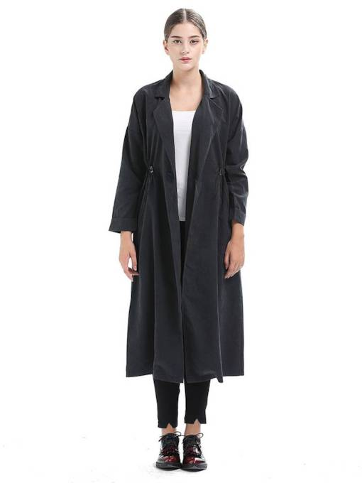 One Button Ankle Length Dual Pocket Slim Women's Trench Coat