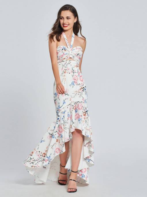 Mermaid Printed Ruffles Halter High Low Prom Dress