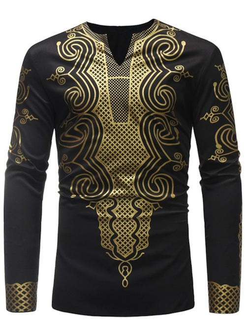 Dashiki V-Neck Men's Long Sleeves T-Shirt