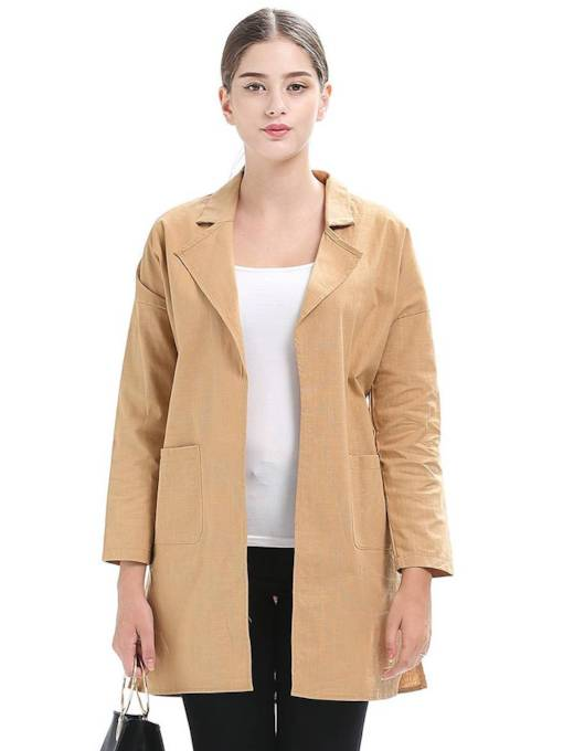 Notched Lapel Wide Pocket Open Front Women's Trench Coat