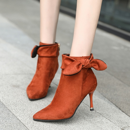 Suede Pointed Toe Stiletto Heel Side Zipper Bow Women's Ankle Boots