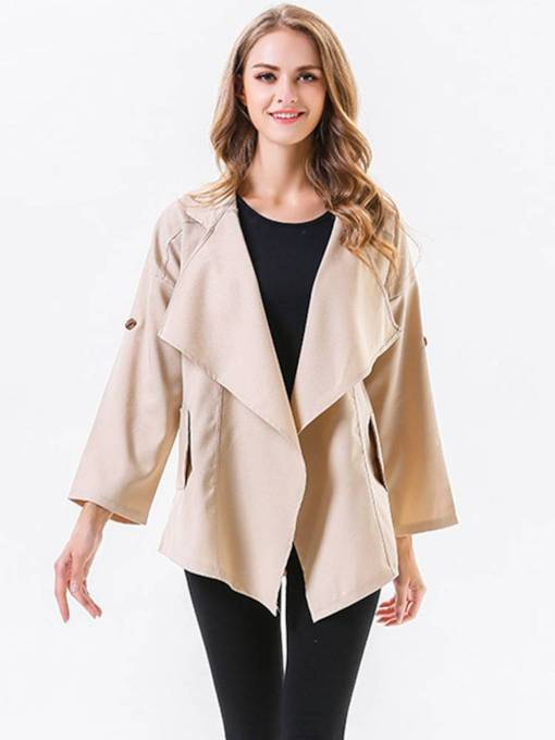 Irregular Wide Lapel Dual Pocket Women's Trench Coat