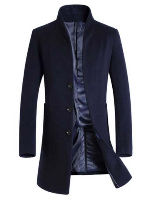 Slim Plain Lapel Mid-Length Single-Breasted Men's Coat