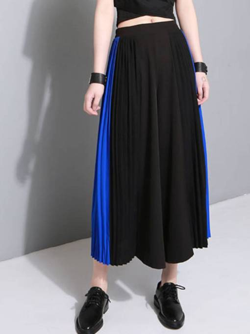 Color Block Pleated Bowknot Women's Skirt