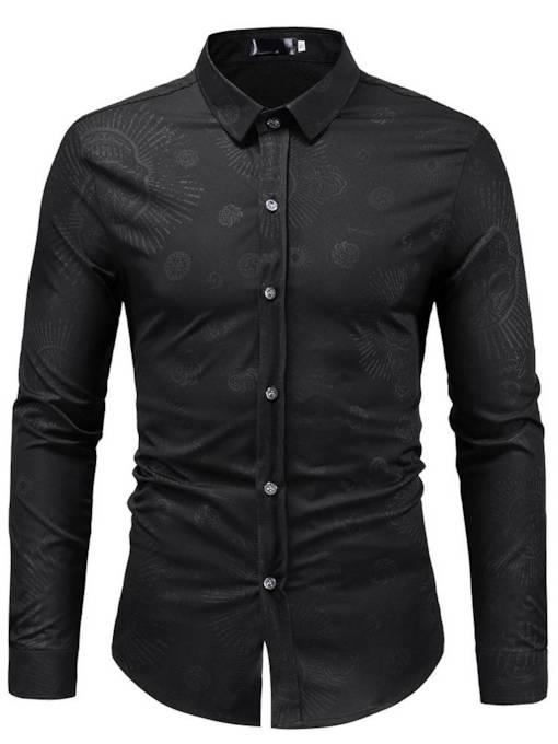 Lapel Slim 3D Skull Print Men's Shirt