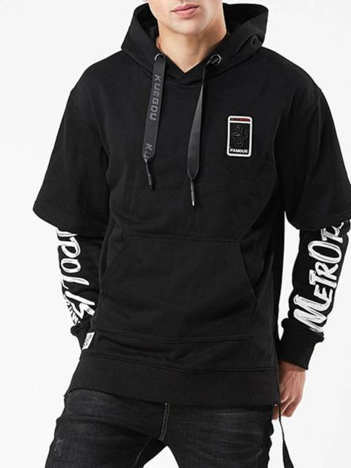 Fake two pieces Letter Print Loose Men's Hoodie