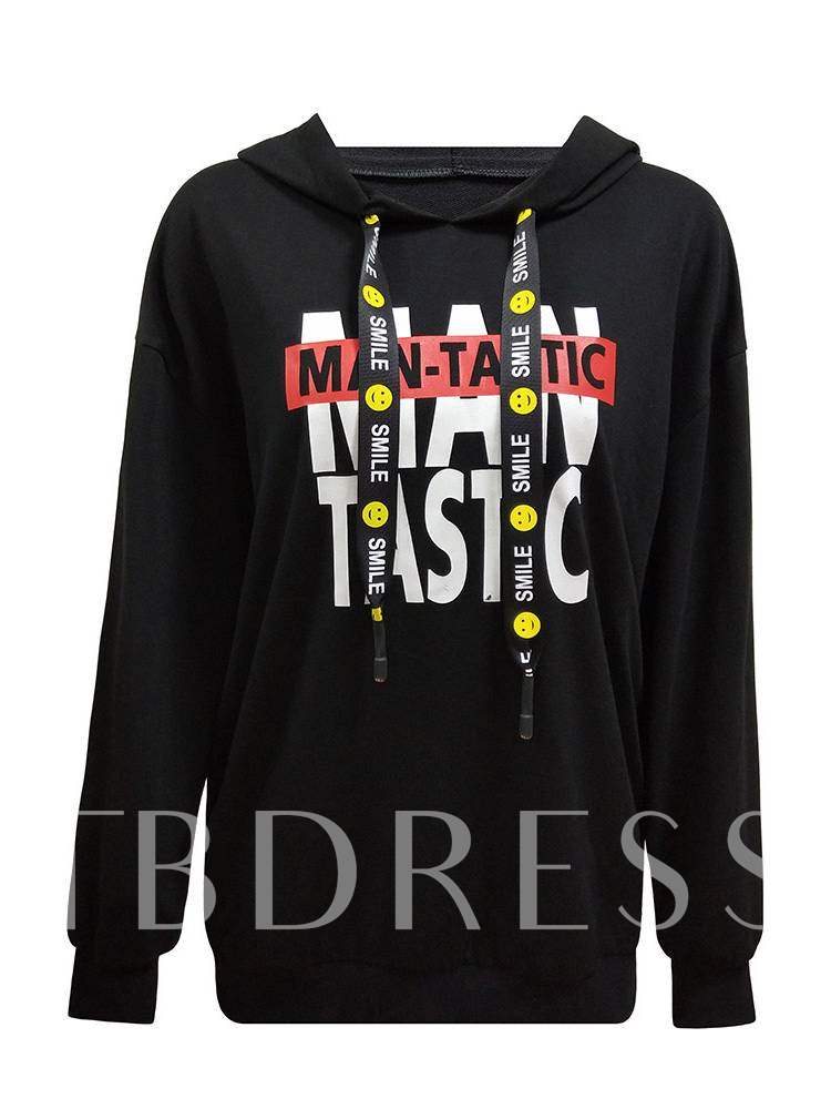 Buy Letter Print Color Block Loose Women's Hoodie, Spring,Fall, 13397878 for $13.97 in TBDress store