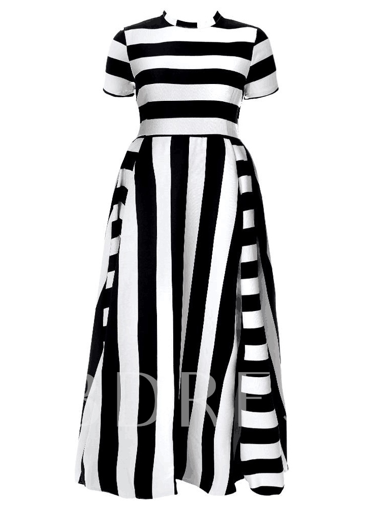 Plus Size Short Sleeves Stripe Women's Maxi Dress