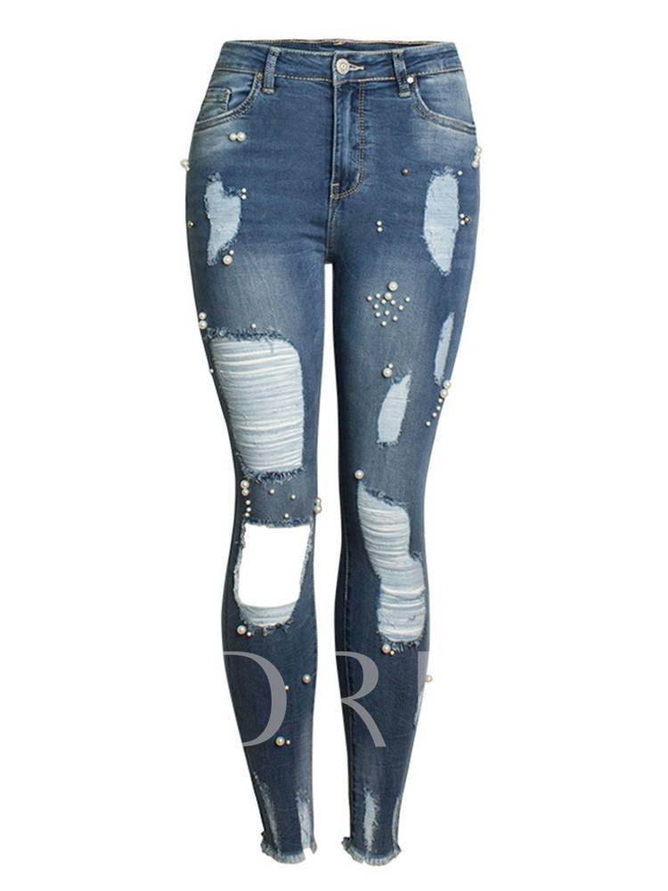 Skinny Bead Hole Ripped Women's Jeans