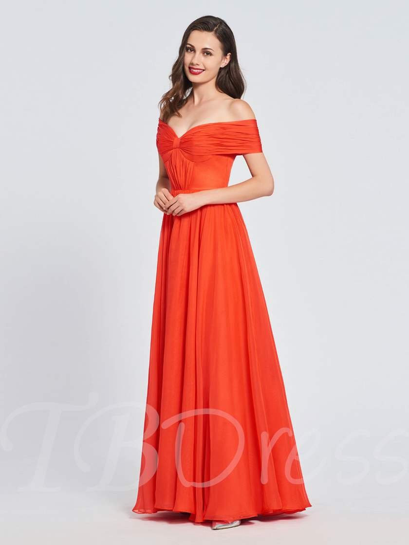 Off-the-Shoulder Pleats A-Line Prom Dress