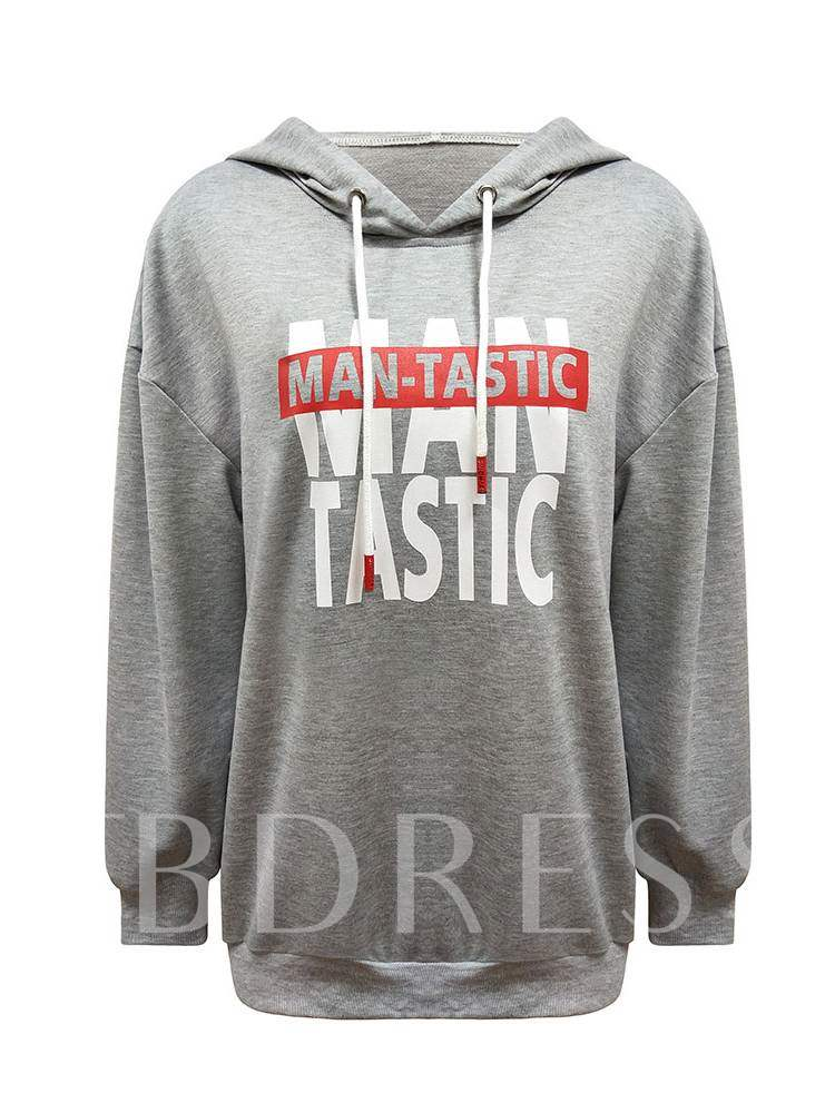 Buy Plain Loose Fit Hooded Letter Print Women's Hoodie, Spring,Fall, 13397874 for $13.97 in TBDress store