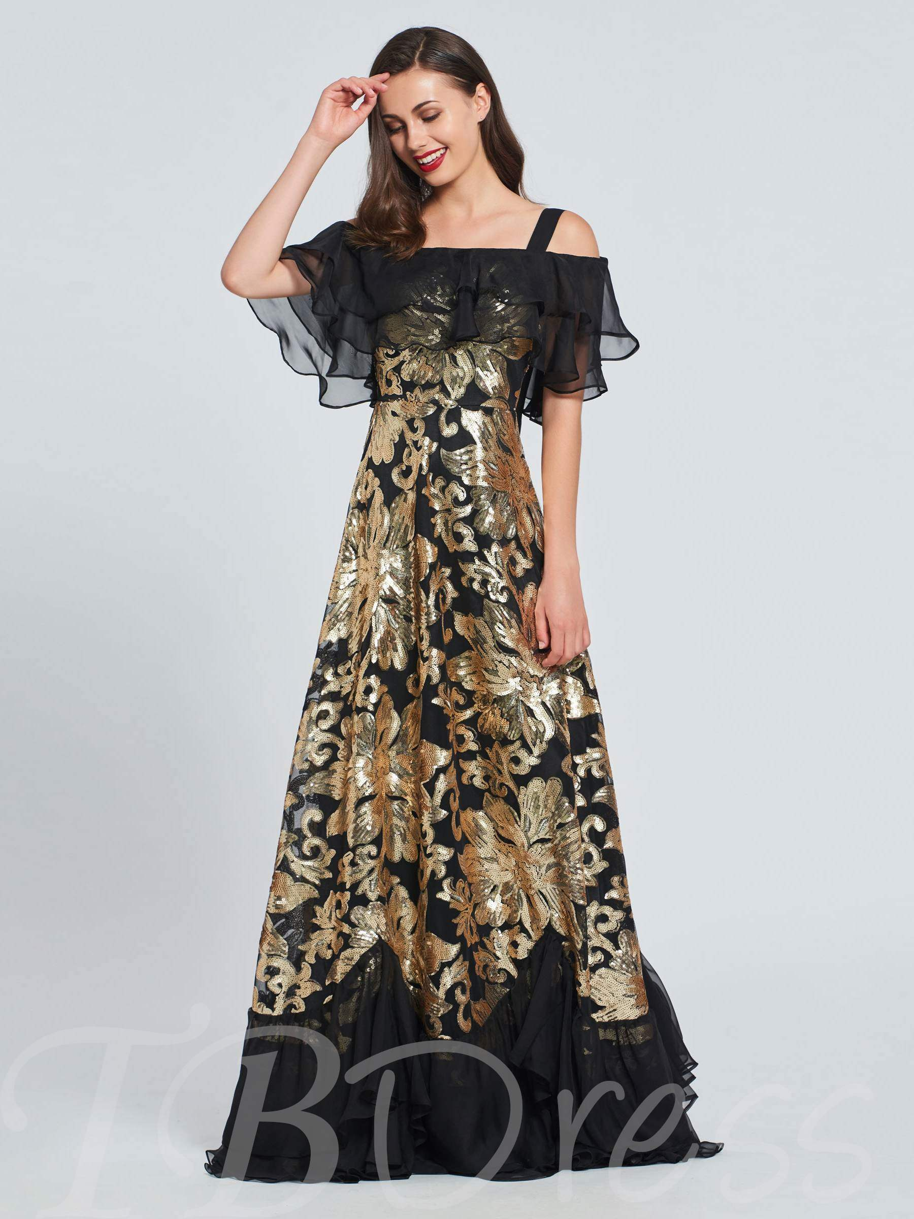 Buy A-Line Ruched Sequins Open Shoulder Prom Dress, Spring,Summer,Fall,Winter, 13396430 for $168.99 in TBDress store