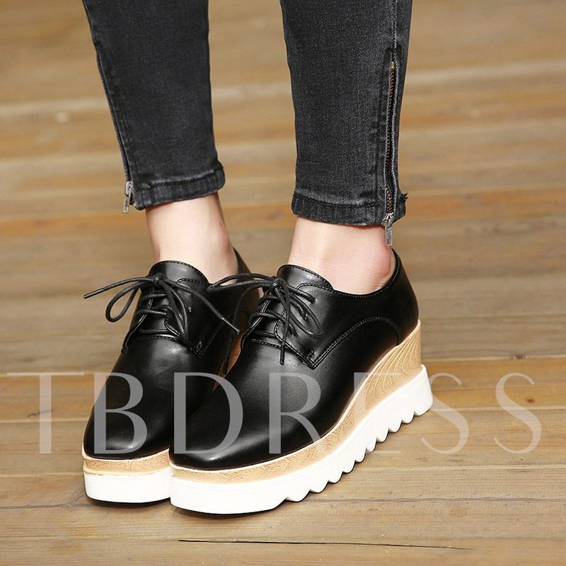 Lace-Up Square Toe Platform Wedge Heel Casual Women's Sneaker