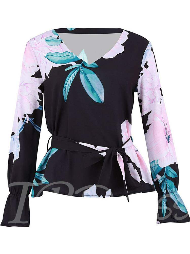 Buy Lace Up Ruffle Flare Sleeve Floral Print Women's Blouse, Spring,Fall, 13400649 for $13.60 in TBDress store