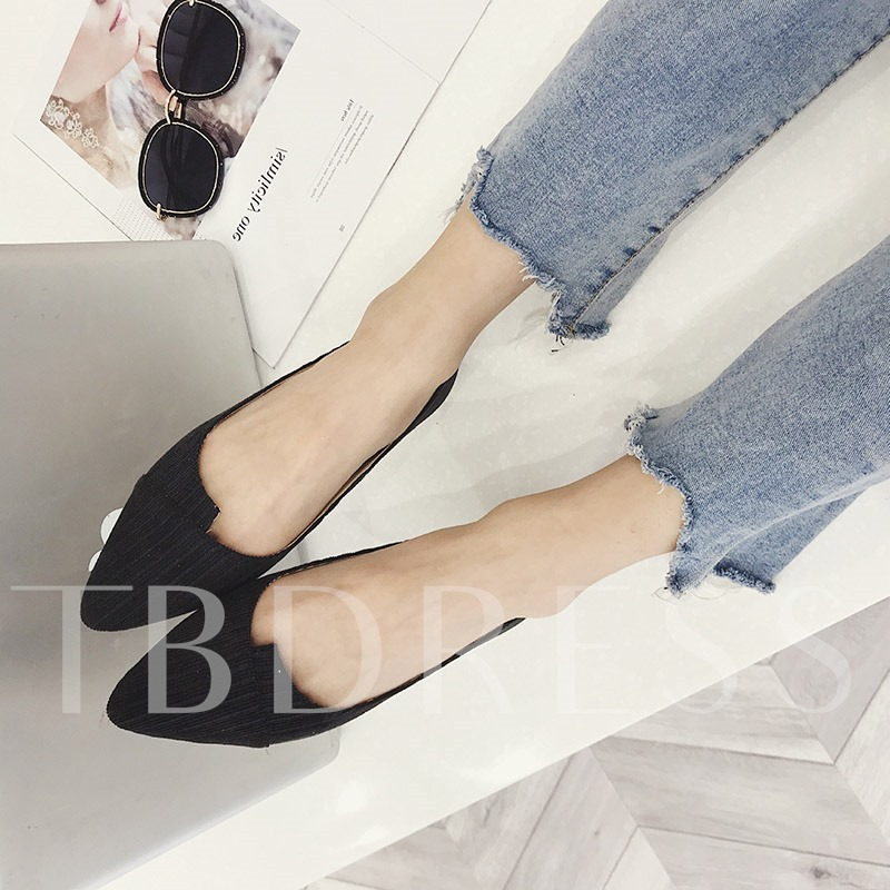 Buy Slip-On Block Heel Pointed Toe Cloth Casual Women's Flats, Spring,Summer,Fall, 13397653 for $22.90 in TBDress store
