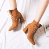Suede Chunky Heel Pointed Toe Lace-Up Fashion Ankle Boots