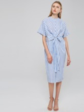 Short Sleeve Striped Women's Maxi Dress