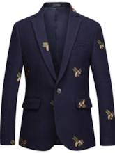 Lapel One Button Bee Embroidered Straight Men's Blazer