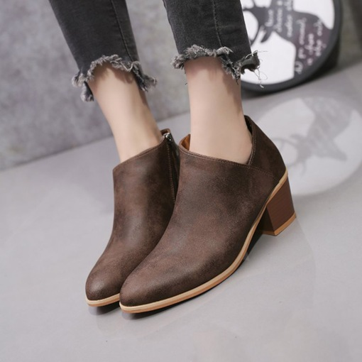 Pointed Toe Side Zipper Chunky Heel Casual Women's Ankle Boots